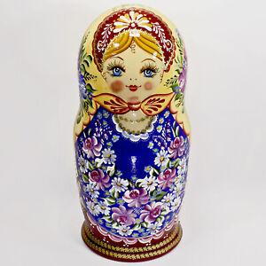 "10"" BIG AUTHENTIC RUSSIAN MATRYOSHKA AUTHOR'S NESTING DOLLS 10 PIECE SET 10PCS"