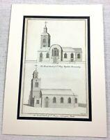 1756 Antico Stampa Bermondsey Londra San Mary Magdalen Chiesa Rara Incisione