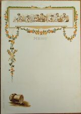 Champagne Pol Roger 1890 Embossed, Color Litho Advertising Menu w/Children, Cork
