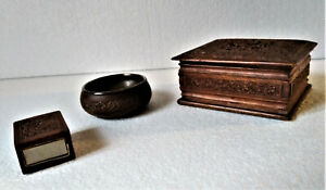 Cigarette Wooden Box + Matches Holder + Ashtray Hand Decorated, Carved 1950
