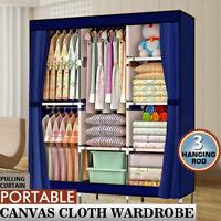 "High Quality Portable Closet Wardrobe Clothes Rack Storage Organizer w/Shelf 71"""