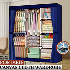 Portable Clothes Storage Closet Organizer Shelf Wardrobe Rack Shelves Fabric 71""