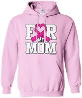 Threadrock Women's For My Mom Breast Cancer Awareness Hoodie Sweatshirt Pink