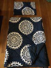Pottery Barn Pb Teen Medallion Florette twin o Xl dorm comforter blue quilt navy