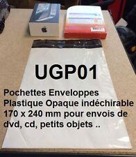 Lot de 1 à 100 Enveloppes pochettes plastique opaque blanche 5 formats au choix