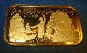 Liberty or Death 480 Grains(1.09714 OZ) Fine Silver 999 Art Bar Gold Plate