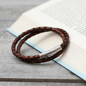 Braided Leather Bracelet Double Wrap With Stainless Steel Brushed Snap in Clasp