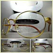 Men's CLASSY Clear Lens EYE GLASSES Gold Frame Real Wood Wooden Temples Handmade