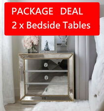 (PAIR) Gold Beaded Mirrored Bedside Tables 3 Drawer Nightstand Mirror Furniture
