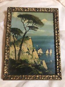 Vintage Original Art Oil Painting on Board nautical seascape framed