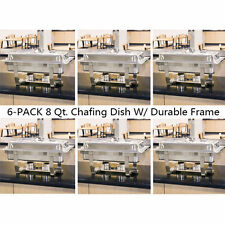 6Pack 8 Quart Stainless Steel Rectangular Chafing Dish Full Size Buffet Catering