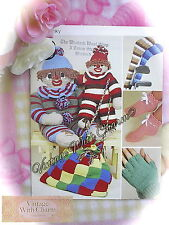 5 Vintage Toy & Gift Knitting Patterns In 1 + Crochet Beach Bag Pattern NO P&P!!