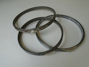3 Antique Vintage Metal Embroidery Hoops Cork Lined 6'' & 7''