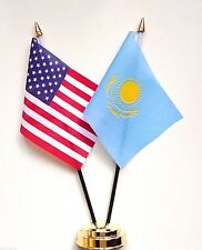United States of America & Kazakhstan Double Friendship Table Flag Set