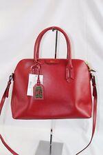 Lauren Ralph Lauren Tate Dome Satchel  Womens Bag Red Leather Handbag $228