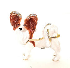 Princess Papillon Dog Trinket / Jewelry Box Pewter Bejeweled Kingspoint