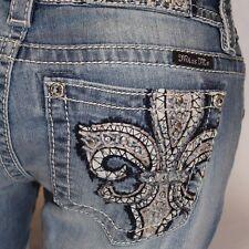 Miss Me Fleur de Lis Fortune Skinny Leg Lowrise SZ 27 Stretch Jeans JP7658S