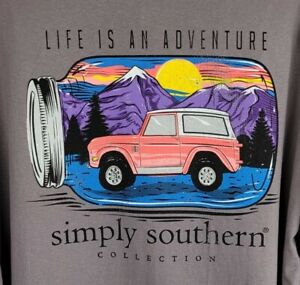 New Simply Southern Mens Size XXL Gray Life Is An Adventure Long Sleeve T Shirt