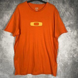 "OAKLEY Orange T-Shirt Top Logo Golf Slim Fit XXL Cotton L33"" PTP22"" Ch44"""