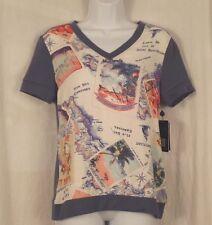 Small Shirt PETER SOM Womens Design Nation  FRANCE Postcard Short Sleeve New