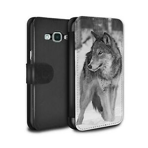 PU Leather Case/Wallet for Samsung Galaxy Grand Prime/Mono Zoo Animals/Wolf