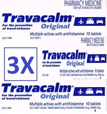 3X10[30] TABLETS OF TRAVACALM ORIGINAL FOR SEA&TRAVEL SICKNESS, Exp 11/2020