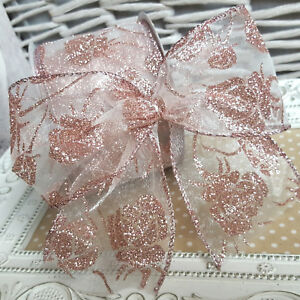 Wired Pink Rose Glitter Christmas Ribbon Flower Xmas Floral Tree Cake Blush