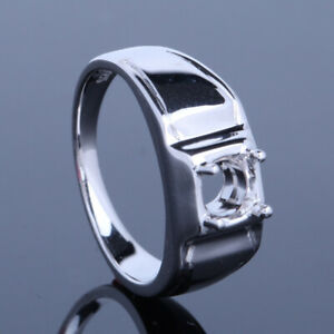 Sterling Silver 925 Solitaire Semi Mount Round 5.5mm Men's Generous Jewelry Ring