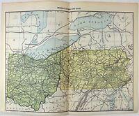Original 1892 Railroad Map of Pennsylvania & Ohio. Antique