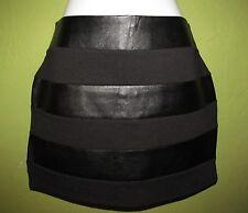 Black Goth Glam fabric PVC striped Mini skirt HEARTONE Juniors M synthetic