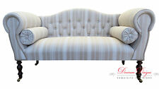 Gorgeous Regency Beige & Cream Striped Button Back Double Ended Chaise Sofa