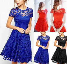 Womens Lace Short Sleeve Swing Skater Mini Dress Party Evening Bridesmaids Dress