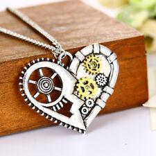 Retro Punk Love Heart Steam Watch Gear 925 Silver Plated Fashion Necklace Choker