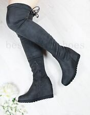 LADIES WOMENS' WEDGE INNER HEEL OVER KNEE BOOTS THIGH STRECH SUEDE SHOES SIZE