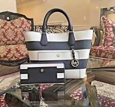 NWT,Michael Kors Greenwich Blue&White Stripe Large Grab Bag Handbag+Wallet $720