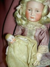 Antique German, all bisque dollhouse size newborn, jointed baby doll, all orig.