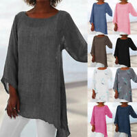 Women Long Sleeve Linen Baggy Blouse Shirt Ladies Summer Tunic Tops Size 6-24