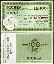 ICCREA 18/2/1977 HOTEL DORO CAMPOFORMIDO  L.100 FDS