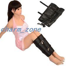 Lockable Bondage Fetish Soft Leather Lace Up Leg Binder Calf Restraint Sleeve