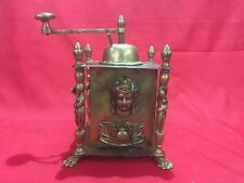 ANTIQUE VINTAGE BRONZE COFFEE GRINDER MILL HAND WINDING WITH STATUES & FIGURES
