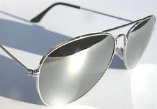 UNISEX FULL MIRROR Mirrored Metal Aviator Sunglasses Silver