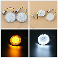 """White/Amber LED Turn Signal Inserts 2"""" BULLET Style For Harley H-D Softail Dyna"""
