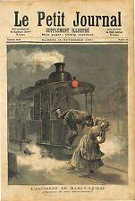SACRIFICE MÉCANICIEN LÉON CANÉ TRAIN MARLY LE LE ROI  1891 ANTIQUE PRINT