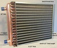 "16x16 Water to Air Heat Exchanger~~1"" Copper Ports w/ EZ Install Front Flange"