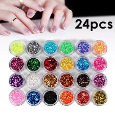 24 Mix Colours Nail Art Craft Acrylic Fine Glitter Powder Pots Tip Decoration