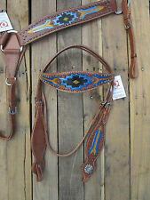 LEATHER WESTERN HEADSTALL BREAST COLLAR TURQUOISE BLUE BLACK SHOW HORSE TACK SET