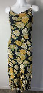 Tina Taylor Size 8 Black Yellow Teal Green Strappy Cowl Neck Slinky Silk Dress