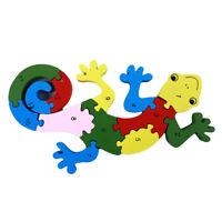 Gecko Wooden Alphabet IQ Jigsaw Intelligent Brain Teaser Puzzle Baby Kid Toy HS