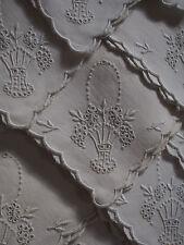 12 VTG Madeira Linen Hand Embroidery Grape Fruit Basket Handle Scalloped Napkins