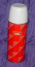VINTAGE TALL METAL THERMOS BOTTLE  RED PYRAMID PATTERN  KING SEELEY  2210